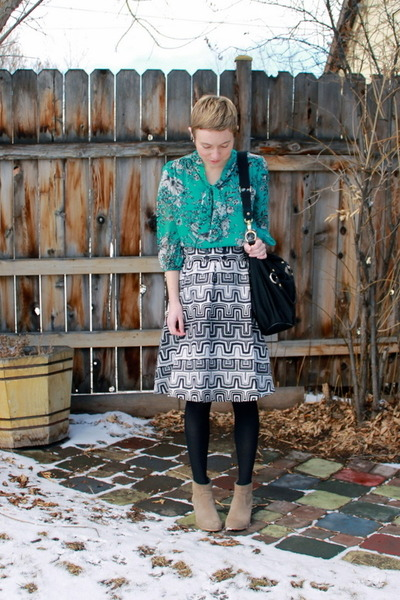 heather gray boots - black skirt - aquamarine blouse