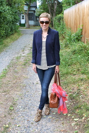 H&M blazer - sam edelman boots - Old Navy jeans - banana republic bag