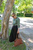 olive green shirt - brown bag - black skirt - camel heels