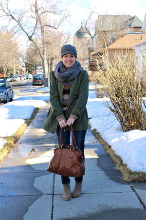 heather gray boots - navy jeans - army green jacket - camel sweater - brown bag