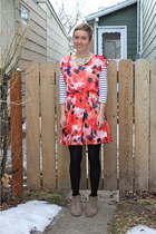 heather gray boots - navy dress - salmon dress - white shirt - black tights