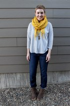yellow Macys scarf - grey antelope boots - straight leg Gap jeans
