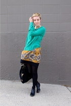 black boots - gold skirt - green blouse