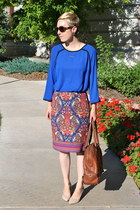 Target skirt - banana republic bag - Nine West wedges - Target blouse