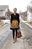 mustard skirt - heather gray boots - brown bag - black blouse