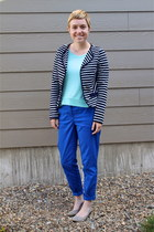 blue blazer - aquamarine Forever 21 blouse - blue H&M pants