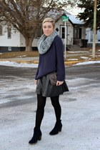 black faux leather TJ Maxx skirt - navy Old Navy boots - navy TJ Maxx sweater