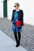 Mia boots - Shoshanna dress - Target jacket - vintage bag - Target earrings
