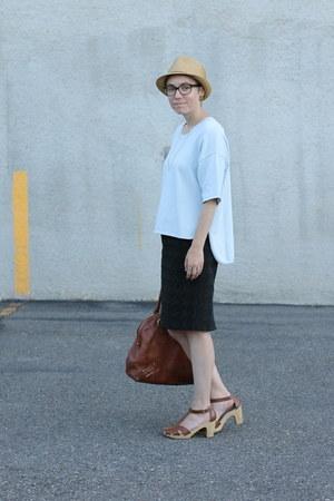 Target hat - weekday shirt - banana republic bag - Old Navy clogs - Target skirt