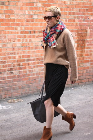 Target scarf - Nine West boots - Target bag - TJ Maxx skirt