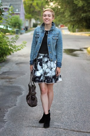Target jacket - Mia boots - Old Navy shirt - Urban Outfitters bag - Target skirt