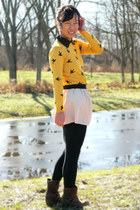 gold OASAP sweater - dark brown moms boots - light pink Target skirt