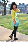 Dark-brown-moms-boots-aquamarine-forever-21-dress