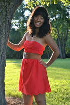 red Target dress - gold eFoxCity necklace - brown Forever 21 belt