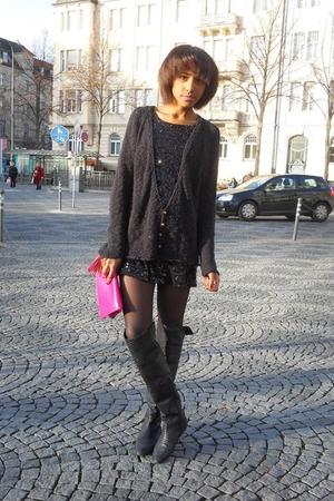 dress - boots - purse