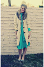 Aquamarine-thrifted-vintage-dress-tan-vintage-jacket-silver-target-flats