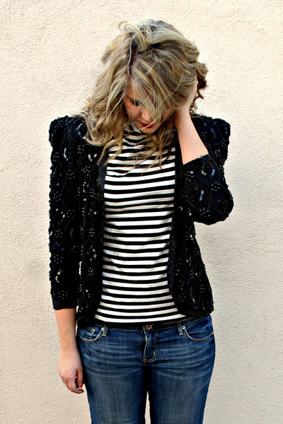 thrifted vintage blazer - merona top - American Eagle jeans