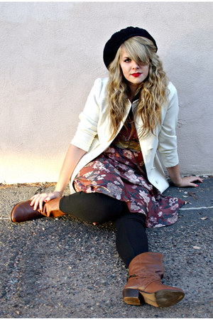 tan vintage belt - brown thrifted boots - maroon vintage from Ebay dress