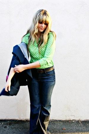 navy Gap jeans - navy vintage blazer - chartreuse vintage blouse