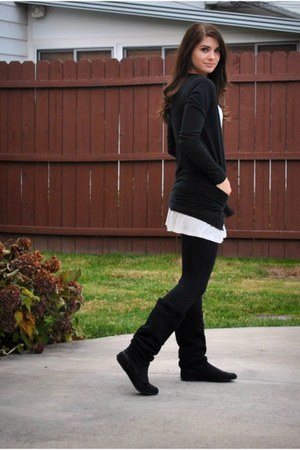 black Charlotte Russe boots - white H&M Trend dress