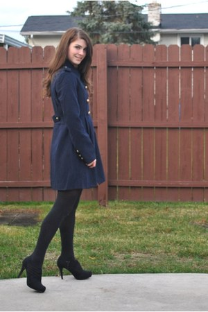 navy ShopKempt coat - black booties suede Target boots - peach ruffles H&M dress