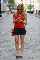 red lace peplum Zara top