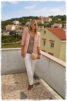 pink Vero Moda blazer - beige asos bag - beige asos shoes