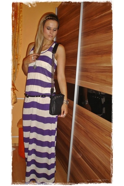 purple H&M dress - black Stradivarius accessories - silver Ebay necklace