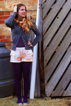 gray cotton on cardigan - purple top - orange Sportsgirl shorts - purple Myers t