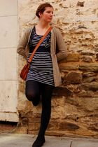 blue Valley Girl dress - brown Just jeans cardigan - black - tights - black Rubi
