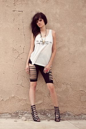 white Erin Wasson x RVCA t-shirt - black Maurie and Eve shorts - ViaChrista