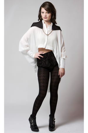 white Gemma Degara top - black Gemma Degara accessories - black quail shorts