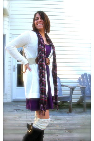 purple dress - purple scarf - brown naughty monkey boots - brown belt - white sw