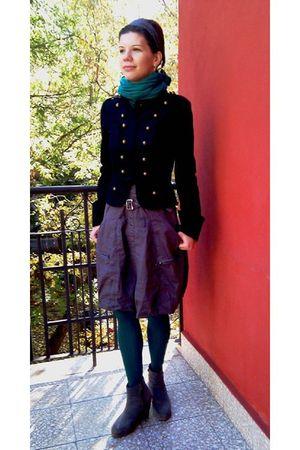 black military Kookai jacket - gray wedge ankle boots - gray CopCopine dress