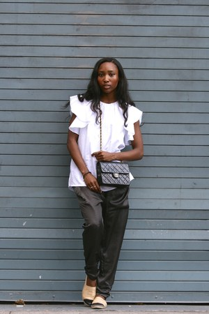 black Chanel bag - white MSGM top - nude Chanel flats - gray LF pants
