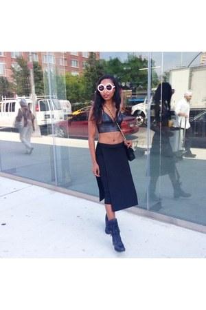 black Chanel boots - black Chanel bag - bubble gum Karen Walker sunglasses