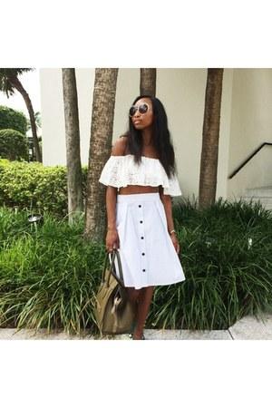 white Lovechild top - forest green Celine bag - tan Chloe sunglasses