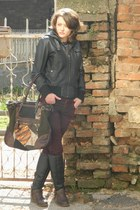 dark brown Bata boots - brick red coton jeans - black Mango jacket