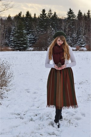 brick red vintage skirt - black vintage boots - forest green thrifted hat