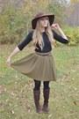 Dark-brown-thrifted-boots-dark-brown-thrifted-hat-black-thrifted-shirt