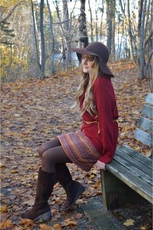 dark brown thrifted boots - dark brown thrifted hat - crimson thrifted sweater