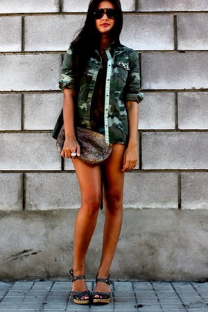 army green Zara cardigan