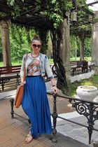 blue maxi skirt no name skirt - sky blue Terranova jacket