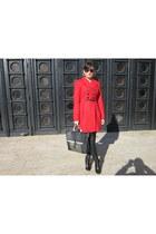 black Zara Trf boots - brick red Zara Trf coat - black coated jeans Zara jeans