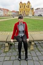 black Pantoful Galben Timisoara boots - brick red velvet Anna Biagini blazer