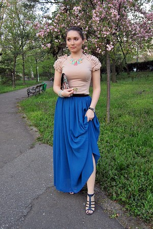 blue maxi skirt no name skirt - light pink imperial dress