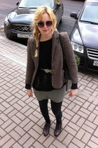 black Topshop sweater - brown vintage blazer - beige Topshop sunglasses - camel