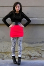 Red-h-m-skirt-black-vintage-top-black-random-brand-belt-white-h-m-leggings