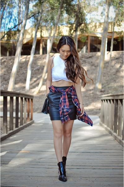 black cutout Zara boots - black hm skirt - white crop LF Store top