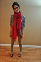 hot pink scarf - Marni shoes - Forever 21 pants - Forever 21 top